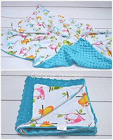 Úžitkový textil - Minky deka s vtáčikmi - 8589499_