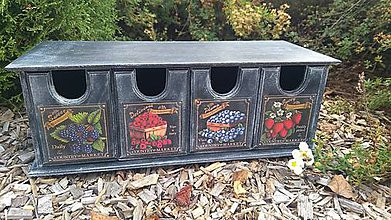 Krabičky - Drevená skrinka so štyrmi šuplíkmi - 8588123_