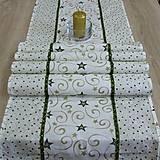- Zeleno zlaté hviezdy s ornamentami - stredový obrus 166x43 - 8587366_