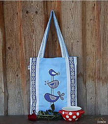 Nákupné tašky - Ekotaška - modrá s vtáčikami - 8588691_