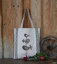 Nákupné tašky - Ekotaška - hnedá s vtáčikami - 8588795_
