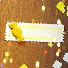 Papiernictvo - Ozdobné menovky na darček  (citrónový cukrík) - 8587657_