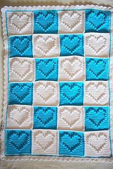 Textil - Hačkovaná srdiečková deka tyrkysová - 8594045_