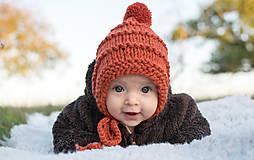 Detské čiapky - Zimný čepček škriatkovský ORANGE MIX s brmbolcom - 8592150_
