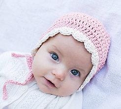 Detské čiapky - Bavlnený čepček OBLÚČIKY - 8590682_
