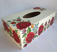 Krabičky - Krabica na vreckovky-červená výšivka - 8594022_