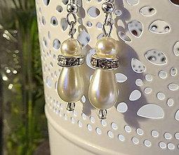 Náušnice - Biele perlové náušnice *Slzy šťastia* so štrasom, Ag925 - 8590484_