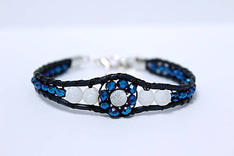 Náramky - Náramok v modrom trblietaní so slnkom - 8591807_