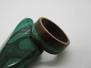 Prstene - Drevený prsteň - orech + malachit - 8590521_