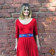 Šaty - Mademoiselle July - různé barvy, pásek s folklorními motivy - 8591193_