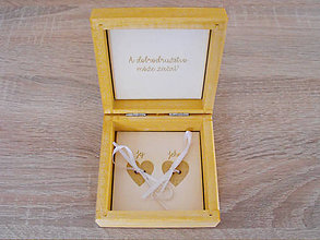 Krabičky - Svadobná krabička na obrúčky-borovica - 8592058_