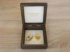 Krabičky - Svadobná škatuľka na obrúčky-orech - 8592099_