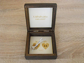 Prstene - Svadobná škatuľka na obrúčky-orech - 8592099_
