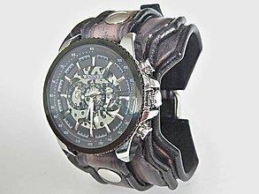 95c999b8f Náramky - Ručne robený šedo čierny kožený remienok s hodinkami - 8593708_