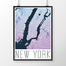 Obrazy - NEW YORK, moderný, modro-fialový - 8592588_