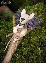 Pierka - Bulteriér a levanduľa III. - pierko pre ženícha podľa fotografie psa - 8591788_