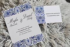 Papiernictvo - Svadobné oznámenie - BLUE FOLK 2 - 8594119_