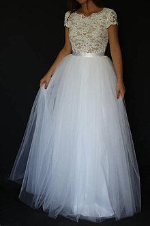 Šaty - Svadobné šaty s elastickým živôtikom a veľkou tylovou sukňou - 8593363_