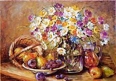 Obrazy - Jesenné zátišie s košíkom a ovocím - 8591447_