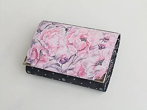 Peňaženky - Romantické růžovofialové květy - malá i na karty - 8591357_