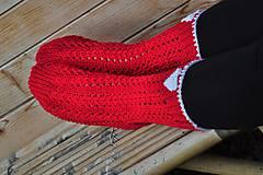 Obuv - červené ponožky-merino - 8593384_