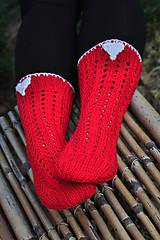 Obuv - červené ponožky-merino - 8593393_