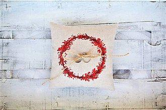 Prstene - Svadobný vankúšik červeň bordó - 8592193_