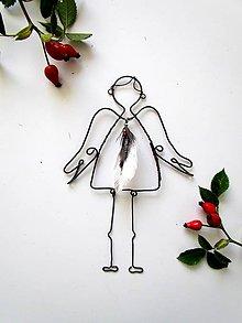 Dekorácie - anjelik s pierkom - 8590718_