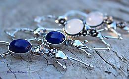 Náušnice - asymetrické strieborné náušnice - halúzky lapis lazuli - 8590622_