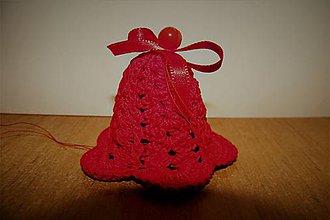 Dekorácie - Háčkované vianočné červené zvončeky - 8590838_