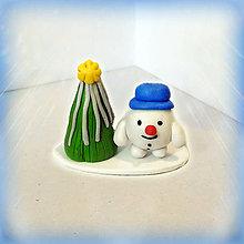 Socha - Strieborný vianočný stromček a snehuliak tlstý - 8592166_