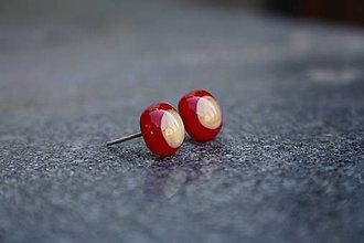 Náušnice - Puzetky Red&Cream - 8596899_