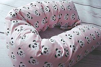 Textil - Tehotenský vankúš / Vankúš na dojčenie ružové pandy - 8596859_