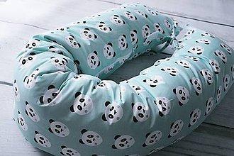 Textil - Tehotenský vankúš / Vankúš na dojčenie mentolové pandy - 8596906_