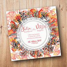 Papiernictvo - Svadobné oznámenie: jeseň/listy - 8595157_