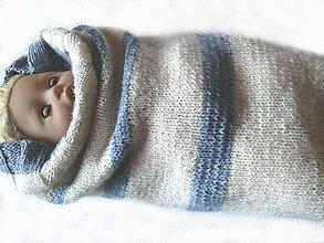 Textil - Pletený spacáčik - kukla pre bábätko Pásik - 8597902_