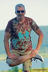 Tričká - Pánske tričko batikované, maľované  NA PÚŠTI - 8595759_
