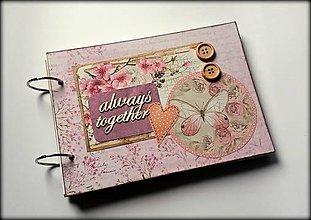 Papiernictvo - Vintage svadobný/ romantický scrapbook album A5 - 8596053_