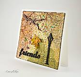 Papiernictvo - Jesenná pohľadnica priateľstva s japonským washi papierom - 8595303_