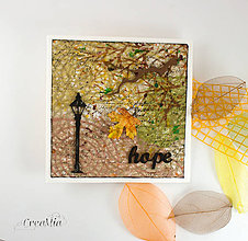 Papiernictvo - Jesenná pohľadnica nádeje s japonským washi papierom - 8595316_