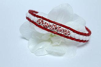 Náramky - Náramok ľudový červený - 8596157_