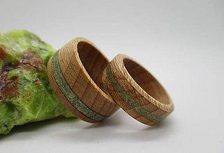 Prstene - Drevené obrúčky s opálom - 8594439_