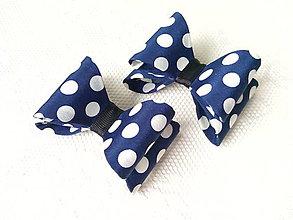 Materiál ručne robený - Bodkované mašličky - modrá + biela bodka - 8594647_