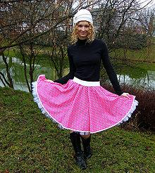 Sukne - Sytě růžová puntíkovaná kolová sukně - 8597508_