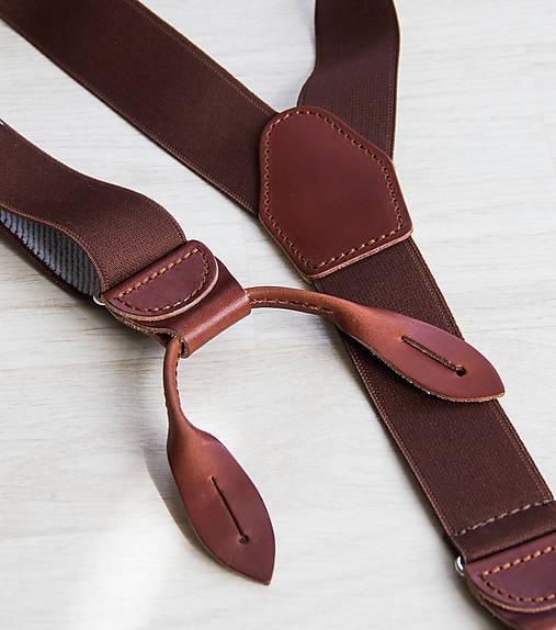 8164111e74725 Pánske traky na kožené pútka jednofarebné (hnedé) / bubibubi_ties ...