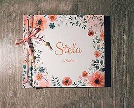 Papiernictvo - Fotoalbum klasický polyetylénový obal s potlačo kvetinového ružovo-sivého venčeka s voliteľnou potlačou - 8594733_