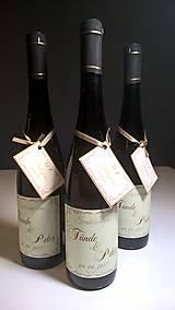 Darčeky pre svadobčanov - Etiketa na víno s ďakovnou kartičkou - 8595461_