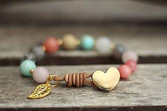 Náramky - Boho náramok z minerálov ruženín, jaspis, krištáľ... - 8598005_