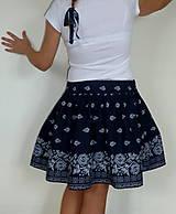 Sukne - Sukienka Bordúra Folk tmavomodrá krátka - 8602913_
