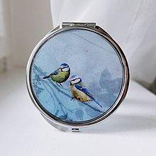 Zrkadielka - Zrkadlo modré s velkými vtáčikmi - 8600501_